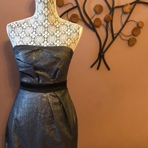 [max and cleo] Strapless Silver Black Dress Size 2